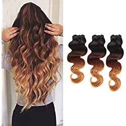"100% Virgin Brazilian Hair Extensions Grade 7A Quality 16-24inch Body Wave Thick 3 Bundles 300g Mixed Length 18"" 20"" 22'',Ombre Colour (Natural Black+Light Auburn+ Honey Blonde)"