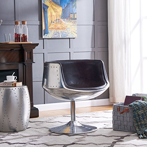 New Pacific Direct Conan PU Leather Swivel Chair,Aluminum Legs,Distressed Java Brown