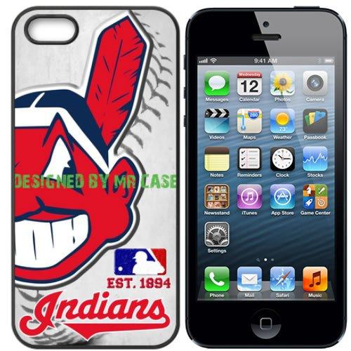 Indians Cleveland Baseball New Black Apple iPhone 5S, 5 Case By Mr Case (Iphone 5s Cleveland Indians Case)