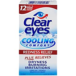 Clear Eyes Cooling Comfort Redness Relief - #1 Selling Brand of Eye Drops - Relieves Dryness, Burning, and Irritations - Up to 12 Hours of Soothing Comfort - 0.5 Fl Oz
