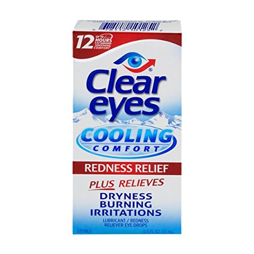 Clear Eyes Cooling Comfort Redness Relief - #1 Selling Brand of Eye Drops - Relieves Dryness, Burning, and Irritations - Up to 12 Hours of Soothing Comfort - 0.5 Fl Oz (Ny Sunglasses Wholesale)