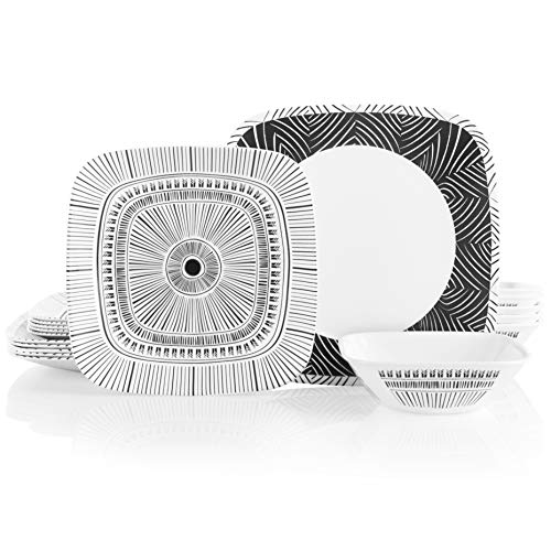 affordable Corelle 18-Piece Service for 6, Chip Resistant Dinnerware Set, Imani