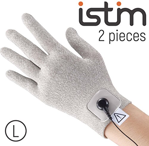 iStim Conductive Glove Package (including Electrode Pads) for electrotherapy, massage - compatible with TENS/EMS Machine Units - Silver Thread (L - 2 pieces)