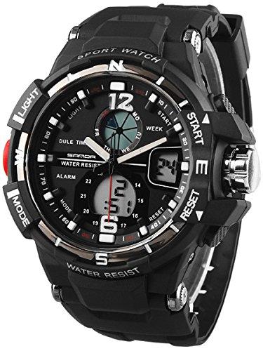 Alienwork Analog-Digital Armbanduhr Multi-funktion LCD Uhr Backlight Outdoor schwarz Polyurethan SD-QU289-01