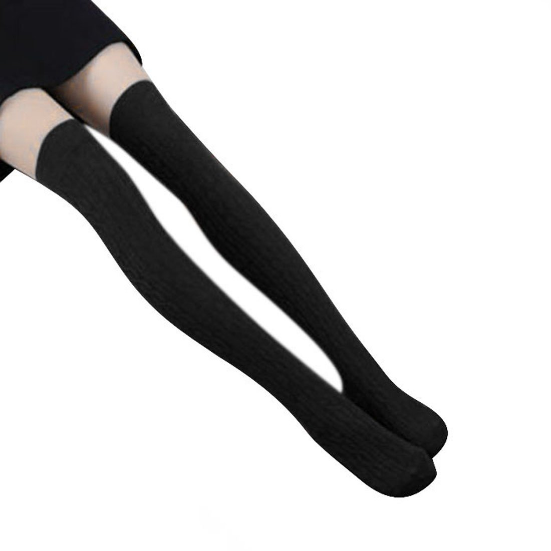 Women Knit Knee Boot Cotton Thigh High Socks Lot Leg Warmer (Black)