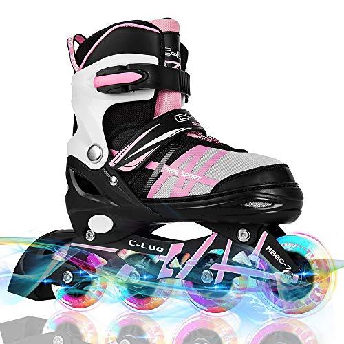 ルー本質的に橋脚otw-cool調節可能なInline Skates for Kids、RollerbladesホイールライトUp、安全で丈夫なインラインローラースケート男の子と女の子の、すべての大人のメンズとレディース