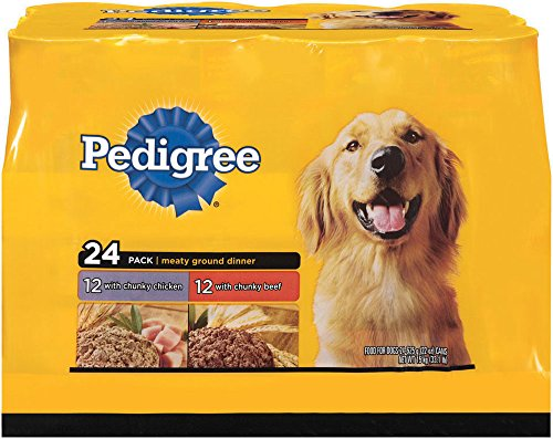 Pedigree Meaty Ground Dinner Multipack Chicken And Beef Canned Dog Food 22 Ounces (Pack Of 24)