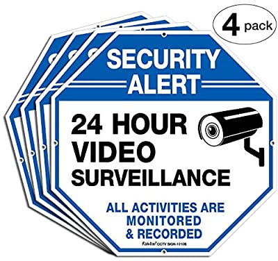 """(4 Pack)""""Security Alert - 24 Hour Video Surveillance, All Activities Monitored"""" Signs,10"""" x 10"""" .040 Aluminum Reflective Warning Sign for Home Business CCTV Security Camera, Indoor or Outdoor Use,Blue"""