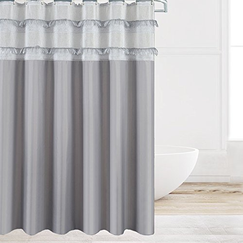 Eforcurtain Elegant Tassel Fringes Shower Curtain Water Resistant Mildew Free, Extra Long Grey Durable Fabric Bathroom Curtain Set with Free Plastic Hooks 72 by 78 Inch