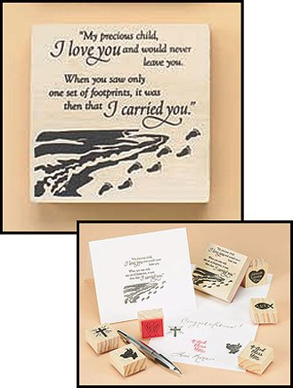 Footprints in the Sand Religious Rubber Stamp with Holy Card ()