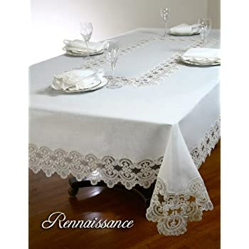 Tablecloth, 100% Polyester, Wrinkle Free Tablecloths, Ivory. Lace  Tablecloths, (