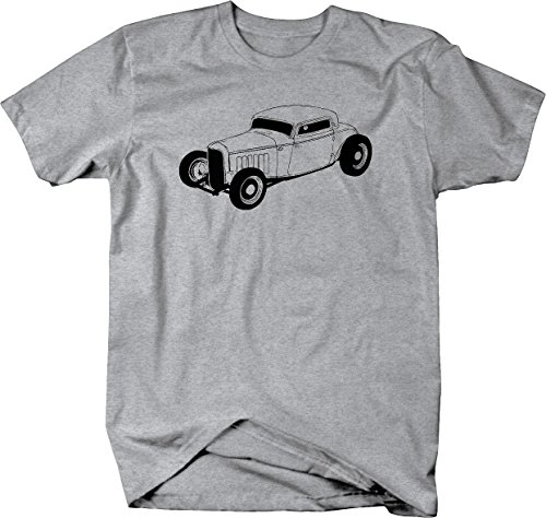 - Ford Chevy Custom Roadster Deuce Coupe Tshirt - Large Heather Grey