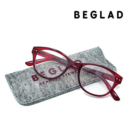BEGLAD(《비구랏도》)시니어 글래스 안경 돋보기  세련된 케이스 첨부  BT2014RD 트렌드의 classics 타일 웰링톤형 3색 +1.0~+2.5 레드