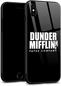 ZHEGAILIAN iPhone Xs Case,iPhone X Cases, Tempered Glass Back Shell Pattern Designed with Soft TPU Bumper Case for Apple iPhone X/XS Cases -Office
