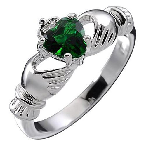 GWG Sterling Silver Claddagh Love Ring for Women with Emerald Green Heart...
