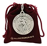 Round St. Christopher Necklace Medal Solid 925 Sterling Silver With 24 Inch Chain And Jewelry Gift Box- Size 33 MM (Adult Male)