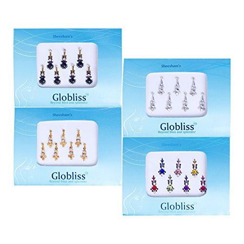 Globliss 4 Packs with 28 Long Indian Bindis face Gems Forehead Sticker Silver Golden Black Colorful ()