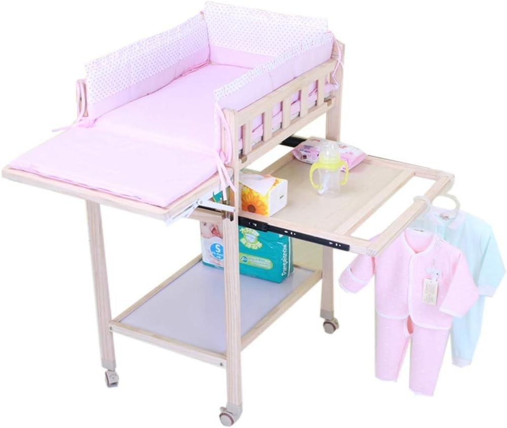 JALAL Cambiador de bebé Rosa/Azul para niños niñas, estación de Masaje portátil de pañales de Madera para bebés recién Nacidos, con Almacenamiento, 0-3 años de Edad