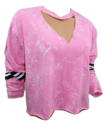 Victoria's Secret Pink Campus Cropped Long Sleeve V-Neck Tee Tie Dye Neon Pink NWT Large