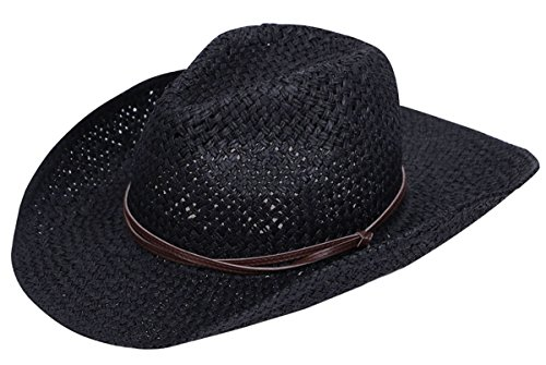 Lullaby Mens Womens Sun Hat Wide Brim Western Structured Straw Cowboy Hat Black