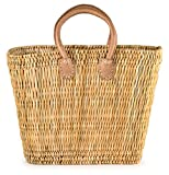 "Moroccan Straw Market Bag w/ Brown Handles, 15""Lx6""Wx10.5""H - Tatami Boat Sm"