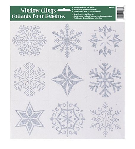 Silver Glitter Snowflake Window Cling