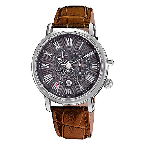 Akribos XXIV Men's AK593BR Swiss Quartz Movement Alarm Watch with Dark Gray Engraved Sunburst Guilloche Center Dial and Brown Leather Calfskin (Swiss Quartz Alarm)
