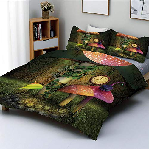 (Duplex Print Duvet Cover Set King Size,Fiction Forest with Giant Mushrooms and Elves Magical Fairy Enchanted ImageDecorative 3 Piece Bedding Set with 2 Pillow Sham,Green Coral,Best Gift For Kids & Adu)