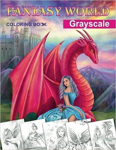 Fantasy World Grayscale Coloring Book Adult Coloring Book Alena