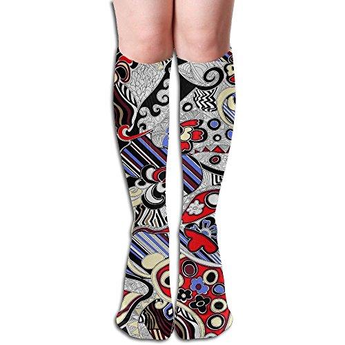 ドールカロリー洗うおかしい ストッキング サイハイソックス 3D プリント デザイン 女性男性 秋と春 フリーサイズ 美脚 かわいいデザイン 靴下 足元パイル ハイソックス メンズ レディース ブラック