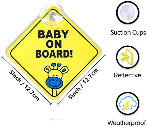 Adesivo per auto motivo: Baby on Board resistente ai raggi UV giallo