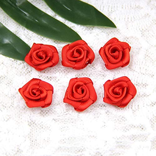 CANTOSI Home Ornament - 100pcs/lot Mini Handmade Satin Rose Ribbon Rosettes Fabric Flower Bow Appliques for Wedding Decoration Craft Sewing Accessories from CANTOSI