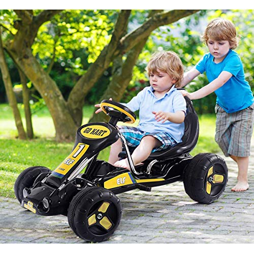 Black Pedal Go-Karts 4 Wheels Game Riding Toy Push & Vehicles Sporting Goods Outdoor Sports Recreational Go-Kart & Frames Hobbies Outdoors & Structures Ride-On Car Home Sport Hobby Conveyance Indoors from Lek Store