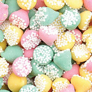 Melty Petite Mints (Guittard brand Smooth N Melty Assorted Petite Non Pareils Mints in a 5 lbs. bag)