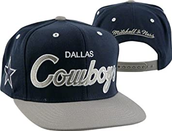 572492cd Image Unavailable. Image not available for. Colour: Dallas Cowboys Mitchell  & Ness Throwback Script 2 Tone Adjustable Snapback Hat
