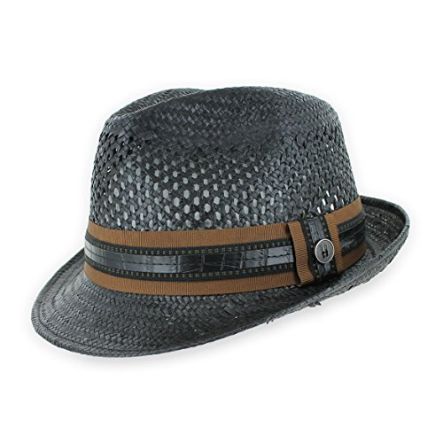Belfry Men/Women Summer Straw Trilby Fedora Hat in Blue, Tan, Black (XLarge, Black) ()