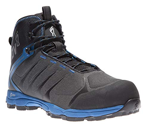 Inov-8 Mens Roclite G 370 - Waterproof Hiking Boots - Lightweight, Breathable - Graphene Grip - Mid Boot Fit - Vegan - Black/Blue 11 M US