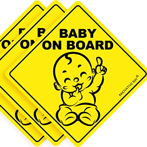 Latest Design- Baby on Board Sticker Sign (3 Pack), Baby Board, Baby car Sticker, Baby car Decal, US Department of Transportation Recommend Color & Shape,Kid Safety, 5by5 by Innovative Bay