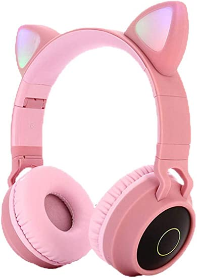 Eubell Bluetooth Headphones Wireless Over Ear Cat Ear Headphones with LED Light Foldable Built-in Microphone and Volume Control for Cell Phones Phone Pad Laptop PC TV Kids Boys Girls Friends