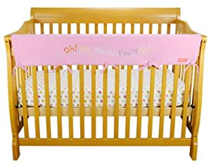 """Dr. Seuss Oh The Places by Trend Lab Velour CribWrap Rail Cover for Long Rail, Pink, Wide for Crib Rails Measuring up to 18"""" Around!"""
