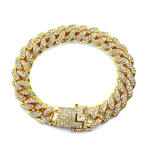 HUAMING 12mm Gold Plated Hip Hop Iced Out CZ Lab Diamond Miami Cuban Link Chain Bracelet for Men and Women Gold (Cent Bracelet 50)