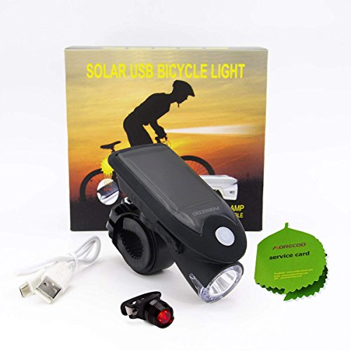 Toplife Solar Bike Light Set, USB Rechargeable Waterproof LED Bicycle Lights Front and Rear, Headlight and Taillight Combo for Outdoor Cycling Safety-with Bike Light Mount Holder by Toplife (Image #6)