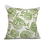 E by design 20 x 20-inch, Antique Flowers, Floral Print Pillow, Green