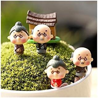 HGJNGHBNG Miniaturgarten Gro/ßvater Gro/ßmutter Mini DIY Figuren Puppen Micro Landschaft Fee Garten Puppenhaus Dekor zuf/ällig rot