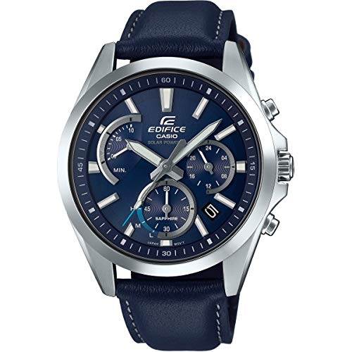 Casio Mens Analogue Classic Solar Powered Watch with Leather Strap ()
