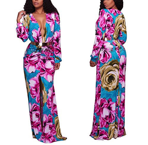 Sexycherry Women Deep V-Neck Elegant Long Sleeves Sexy Flower Floral Cocktail Maxi Party Dress (Large, Floral Bright)