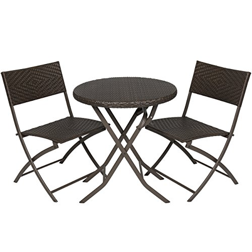 Best Choice Products 3pc Rattan Patio Bistro Set Hand Woven Furniture (Patio Furniture Bistro)