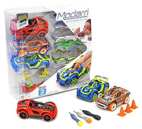 Modarri Delux 3 Pack Build Your Car Kit Toy Set (S1,X1,T1) - Ultimate Toy Car: Make Your Own Car Toy - For Thousands of Designs - Real Steering and Suspension - Educational Take Apart Toy Car For Kids