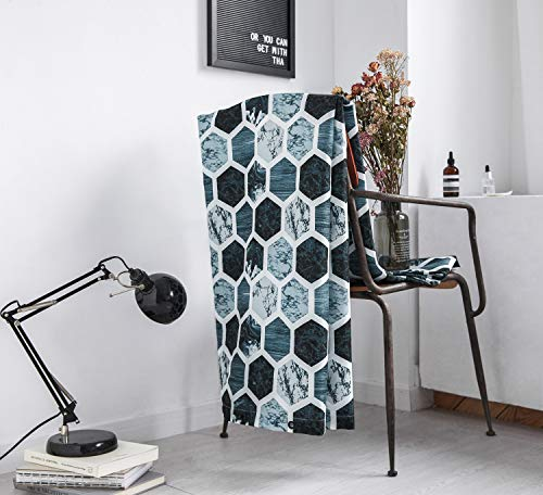 Shower Curtain Set Gray Marble Fabric Shower Curtain Heavy Duty Bathroom Curtains for Bathtubs Geometric, 72 by72 Inch(Grey/Navy/Aqua) - 【100% POLYESTER】:72 by72 inches 100% Polyester FABRIC shower curtain,it's safe for you and your family.(ATTENTION : the material is polyester fabric, not cotton fabric). 【HEAVY WEIGHT / PREMIUM QUALITY】: Heavy-weight woven fabric construction prevents the curtain from billowing;Weighted hem;12 flexible plastic hooks. 【NOVELTY & SIMPLE DESIGNED】:Simple pattern are printed on this fabric shower curtain, perfect to bright your bathroom, providing privacy and decorative appeal.They hang well and let light through,can be used as a stand-alone shower curtain and Machine washable to help you keep your bath curtain clean and looking fresh. - shower-curtains, bathroom-linens, bathroom - 514%2BKGEYFEL -