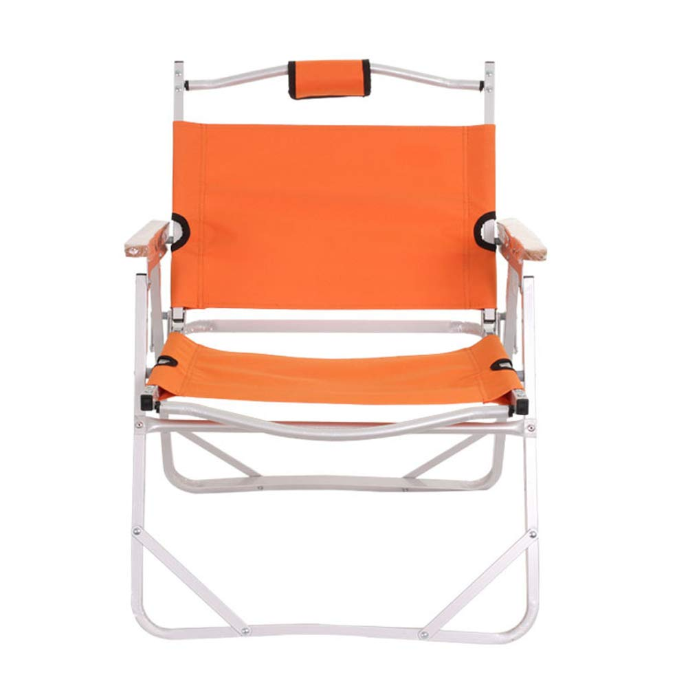 Folding Chair Portable Director Chair Aluminum Beach Chair Fishing Chair Oxford Cloth Camping Outdoor Equipment-Orange